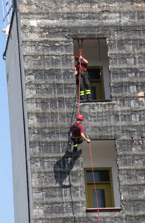 manoeuvre: training on manoeuvre building firefighters in fire station Stock Photo