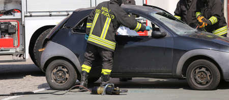 freed: brave Firefighters freed the wounded by car accident sheet