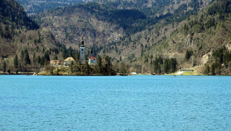 bled: Church on the island of Lake BLED in SLOVENIA Europe