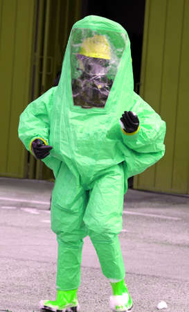 remediation: man with protective gear against biological risk