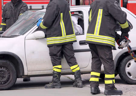italian car: firefighters in action after the car accident