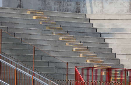 ultra modern: empty bleachers of the stands of the stadium of baseball before the game