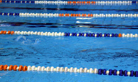 lanes: lanes for swimming pool with blue water Stock Photo