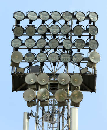 gigantic: gigantic lighting tower with bright spotlights for illuminating sports facilities