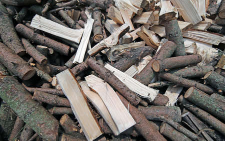 wood heating: many wood cut for use as ecological heating