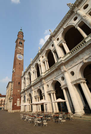 historian: high clock tower and the fantastic palladian basilica in Vicenza italy