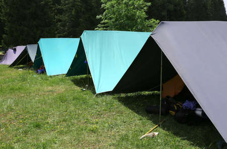 boy scouts tent: row of tents in the summer camp of the boyscout  in the mountains Stock Photo