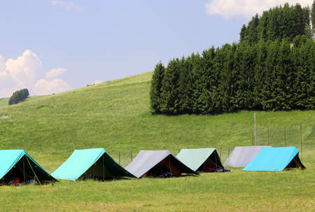boy scouts tent: large tents to sleep during the summer camp of the boyscout mountain