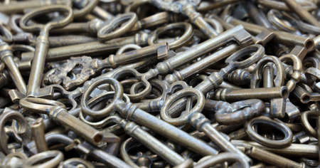 bunch of brass and bronze keys for sale at flea market
