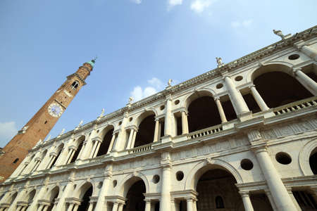 historian: high clock tower and the fantastic palladian basilica in Vicenza