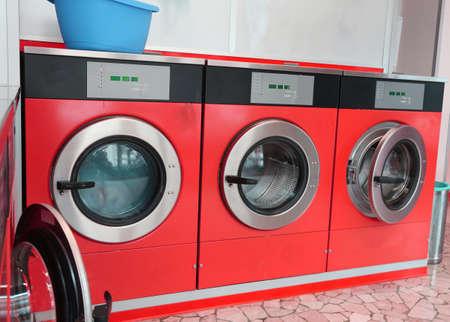 laundromat: big washing machine in the laundromat