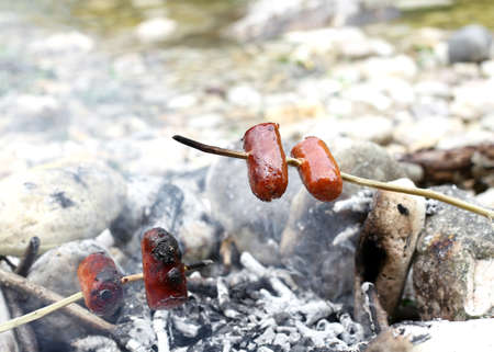 cooked sausage: cooked sausage on fireplace in trappeur style Stock Photo