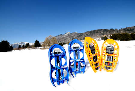 snowshoes: four blue and orange snowshoes in mountains in winter