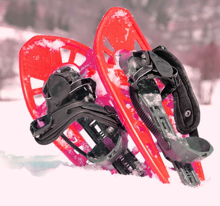 snowshoes: red snowshoes in mountains in winter