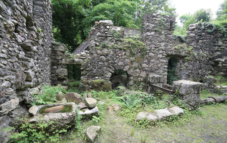 water mill: abandoned old water mill to grind flour in old farm