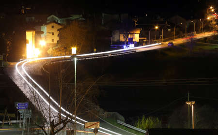 night vision: night vision of a main road in friuli venezia giulia in Italy