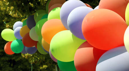 children party: colorful balloons during the birthday party of children