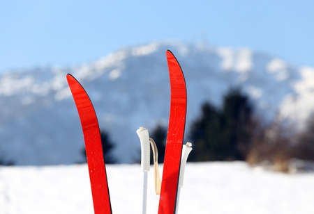 red cross country skiing in winter Stock fotó