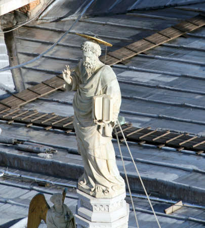 saint mark's: Marble statue of Saint Mark over the Church In Venice in ITALY Editorial