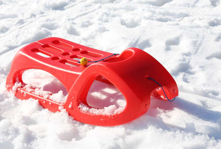 reb: reb sled in the snow in mountains in winter Stock Photo