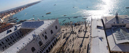 saint mark square: Venice Italy Saint Mark square and the ducal Palace from bell tower