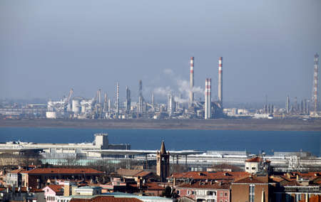 industries factories and smokestacks in Marghera near Venice in Italy