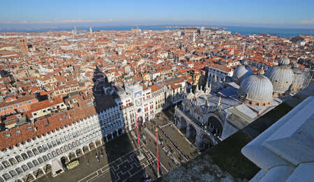 vecchie: Panorama of Venice with the clock tower and the Church of saint Mark from Bell Tower Stock Photo