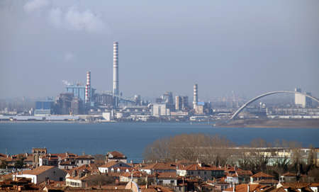 smokestacks: factories and smokestacks in Marghera near Venice in Italy