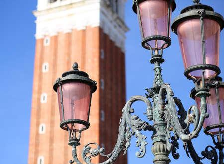 saint mark square: Ancient streetlight in Saint Mark Square in Venice Stock Photo