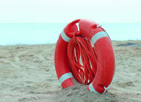 perry: Orange jackets with rope to rescue swimmers in the sea in summer
