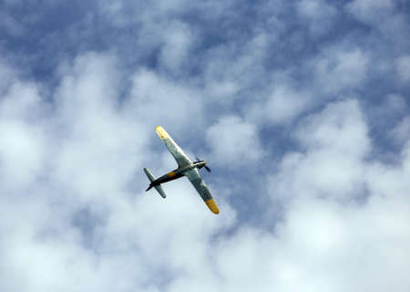 aerobatics: Thiene, Vicenza - Italy. 26th July, 2015: important air show called FlighThiene in Thiene Airport near Vicenza City in Northen Italy with many historical and modern airplanes, Dangerous and amazing aerobatics aircraft during the air show