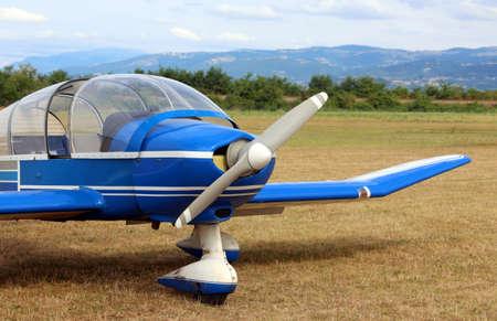 light aircraft: light aircraft at the airport with a big propeller Stock Photo