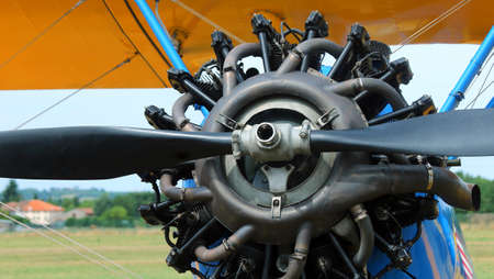 propulsion: detail of the big propeller of an airplane at the airport Stock Photo