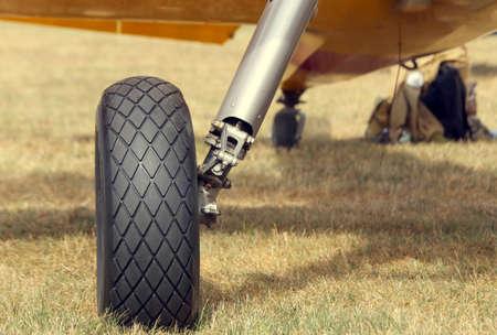 light aircraft: big cart wheel of a light aircraft at the airport Stock Photo