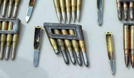 gunpowder: bullets and cartridges of war with gunpowder Stock Photo
