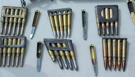 gunpowder: section of bullets and cartridges of war with gunpowder