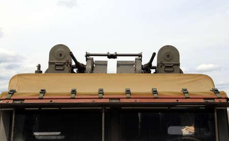 armored truck: historic green American military truck of World War II