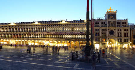 vecchie: Venice, VE - Italy. 10th July, 2015: ancient palace called  Procuratie Vecchie is an old Venetian Palace on St Marks Square in Venice with the lights on at night