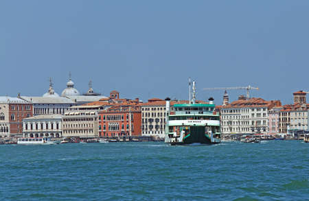 lido: Venice, VE - Italy. 14th July, 2015: Ferry of ACTV company of Venice  to transport cars and vehicle from Venice Island to Venice Lido