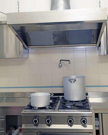 大型工業用キッチン調理器、排気フード 写真素材