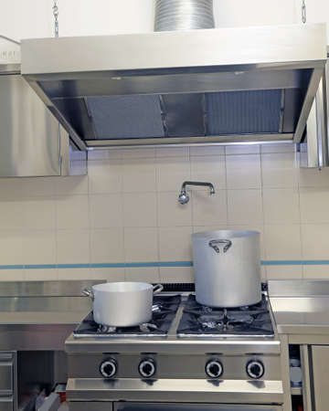 large industrial kitchen cooker and the Exhaust hood