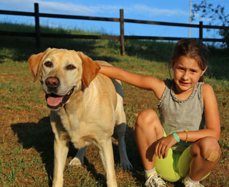 pet therapy: Two friends a Labrador Retriever and a little girl outdoor