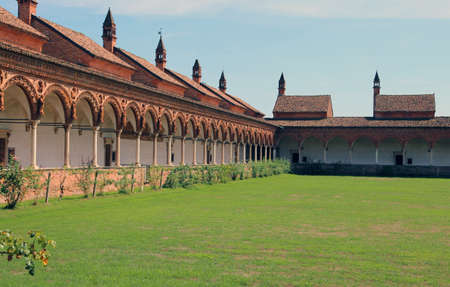 cloister: Magnificent artistic  cloister of monks in the Abbey called Certosa di Pavia in Italy