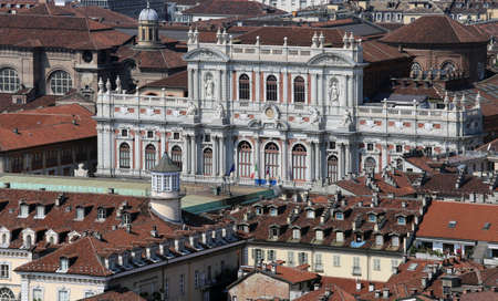 overbuilding: panoramic view from the top by the city of Turin in Italy with the historic Palace called Palazzo Carignano Editorial