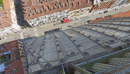 birdseye: birds-eye view of the city of Turin in Italy from the highest building in the city called MOLE ANTONELLIANA Stock Photo