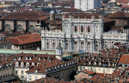 overbuilding: aerial view from the top by the city of Turin in Italy with the historic Palace called Palazzo Carignano