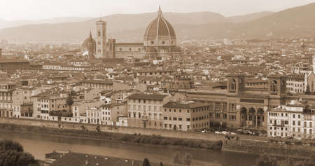 arno: Panorama of FLORENCE in Italy with the dome of the Cathedral and Arno River