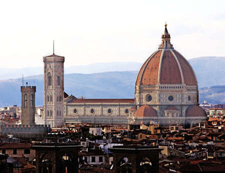 panoramic view of FLORENCE in Italy with the dome of the Cathedral called Cupola del Brunelleschi