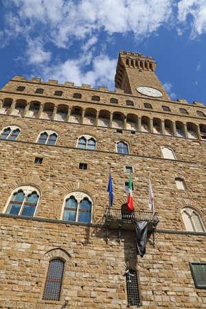 signoria square: Florence Italy Historic palace called Palazzo Vecchio in the Signoria square