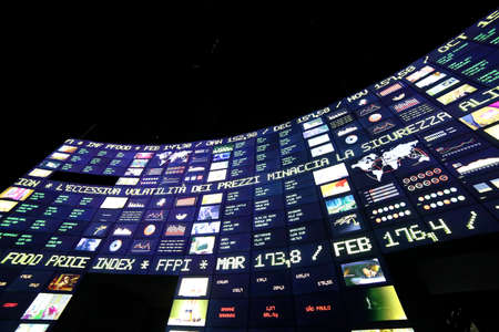 wallstreet: Milan, Italy - 8th September, 2015. Expo Milan 2015 Universal Exposition. Big monitor in the Zero Pavilion. Stock market of food